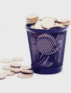 Trash bin with gold coins