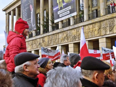 Pro-democratic demonstrations in Lodz, Poland (December 19, 2015). Photo: Olga Łabendowicz