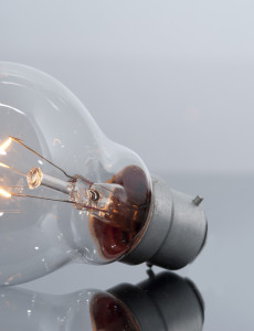 Clear Light Bulb with Glowing Filament