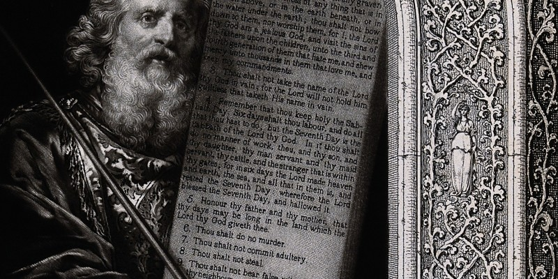 V0034277 Moses, with his rod and the table of the ten commandments; w