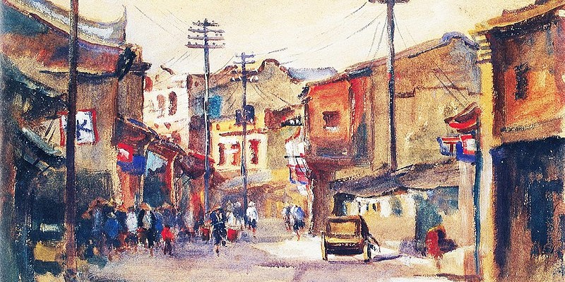 800px-Painting_of_scene_of_streets_in_Taiwan_1927