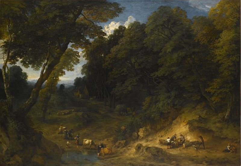 Cornelis_Huysmans_-_Forest_edge_with_loggers